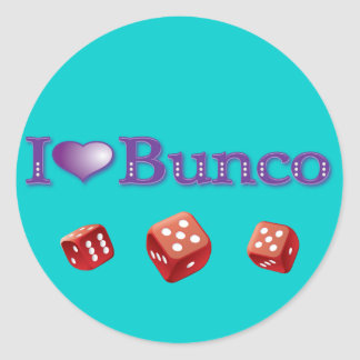 I Love Bunco with Red Dice Classic Round Sticker