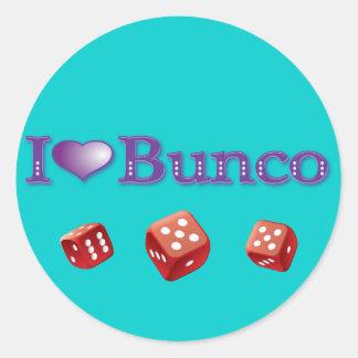 I Love Bunco with Red Dice Classic Round Sticker