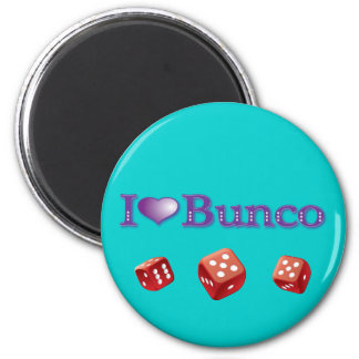 I Love Bunco with Red Dice Magnets