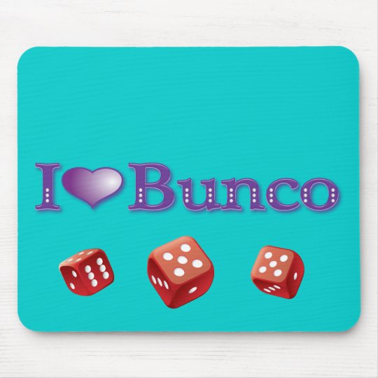 I Love Bunco with Red Dice Mouse Pad