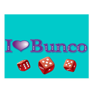 I Love Bunco with Red Dice Postcard