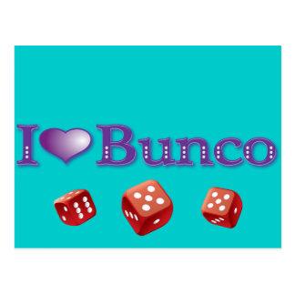I Love Bunco with Red Dice Postcard