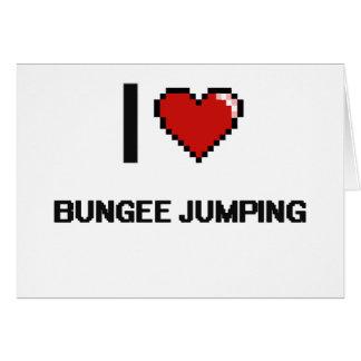 I Love Bungee Jumping Digital Retro Design Greeting Card