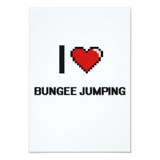 "I Love Bungee Jumping Digital Retro Design 3.5"" X 5"" Invitation Card"