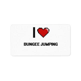 I Love Bungee Jumping Digital Retro Design Address Label