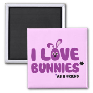 I Love Bunnies * 2 Inch Square Magnet