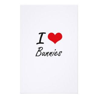 I Love Bunnies Artistic Design Stationery