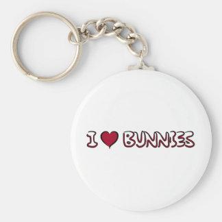 I Love Bunnies Basic Round Button Keychain