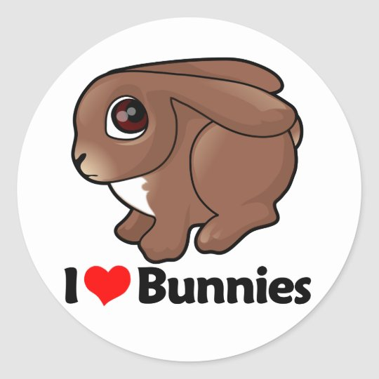 I Love Bunnies Classic Round Sticker