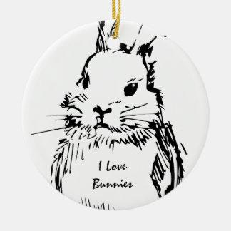 I Love Bunnies (customizable) Christmas Ornament