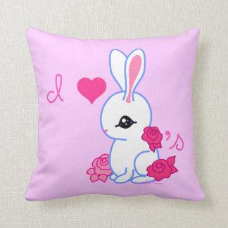 """""""I love bunnies""""  Hotot Bunny Rabbit pink Pillows"""