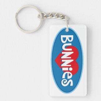 I Love Bunnies Double-Sided Rectangular Acrylic Keychain