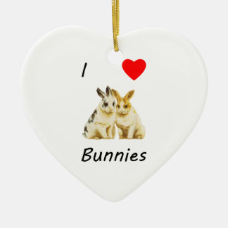 I Love Bunnies Christmas Tree Ornaments