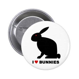 I Love Bunnies Pinback Button