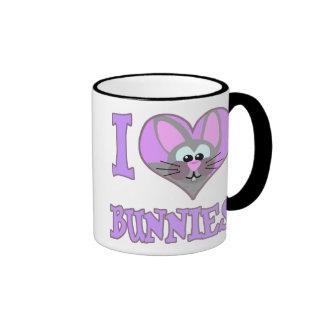 I Love bunnies Ringer Coffee Mug