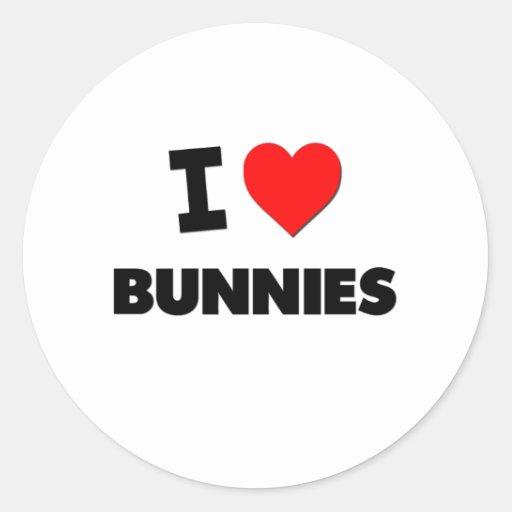 I Love Bunnies Round Stickers