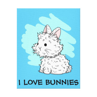 I love bunnies wrapped canvas - Blue Stretched Canvas Print