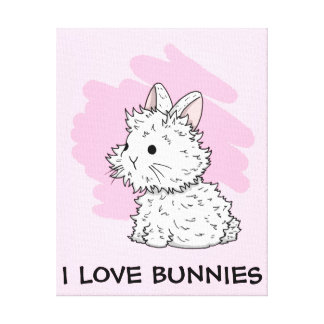 I love bunnies wrapped canvas - Pink Stretched Canvas Prints