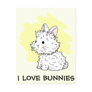 I love bunnies wrapped canvas - Yellow Stretched Canvas Prints