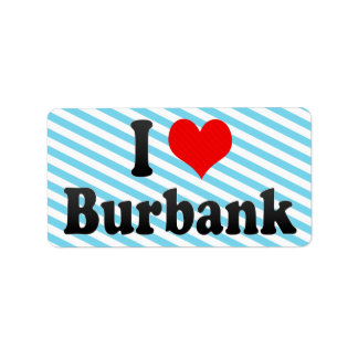 I Love Burbank, United States Personalized Address Labels