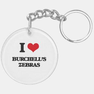 I love Burchell's Zebras Key Chains