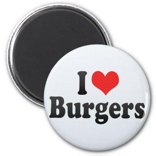 I Love Burgers 2 Inch Round Magnet