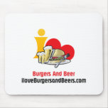 I Love Burgers and Beer Burgers Mouse Pad