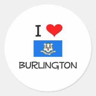 I Love Burlington Connecticut Classic Round Sticker