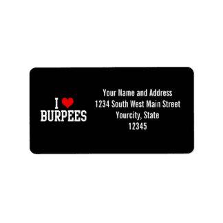 I Love Burpees, Fitness Custom Address Label