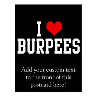 I Love Burpees, Fitness Post Card