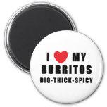 I Love Burritos 2 Inch Round Magnet