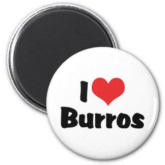 I Love Burros 2 Inch Round Magnet