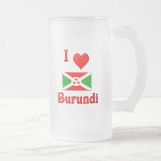 I Love Burundi Frosted Glass Beer Mug