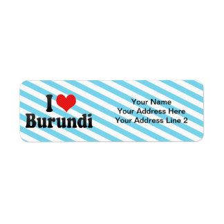 I Love Burundi Return Address Labels