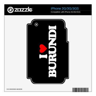 I LOVE BURUNDI iPhone 3 SKINS