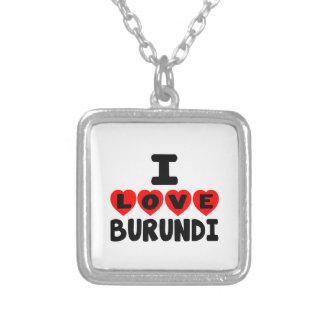 I LOVE BURUNDI SQUARE PENDANT NECKLACE