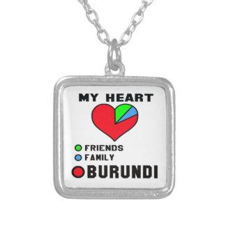 I love Burundi. Square Pendant Necklace