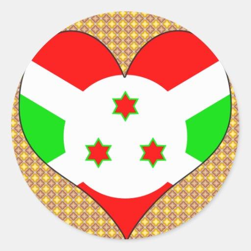 I Love Burundi Round Stickers