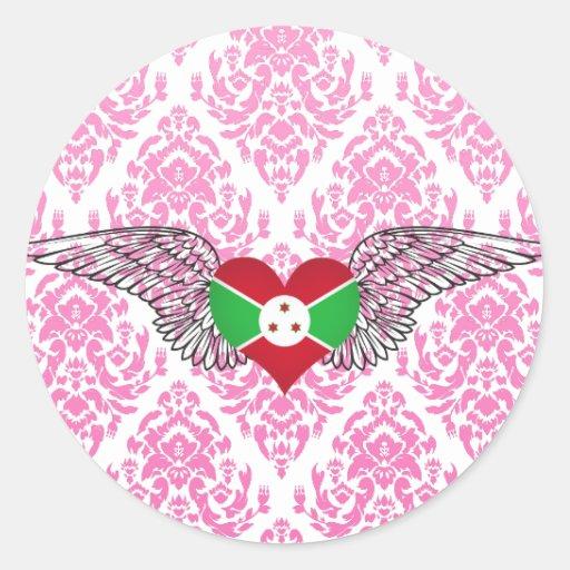 I Love Burundi -wings Round Stickers