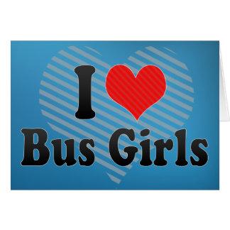 I Love Bus Girls Greeting Card