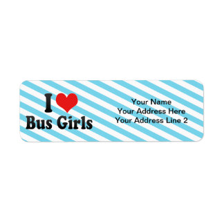 I Love Bus Girls Return Address Label