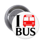 I Love Bus | I Love The Bus | Bus Pinback Button