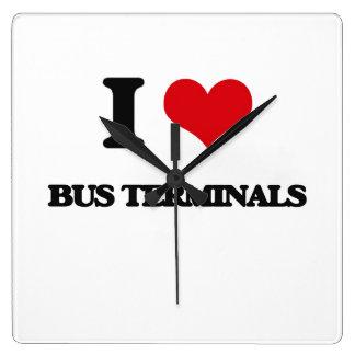 I Love Bus Terminals Square Wall Clock