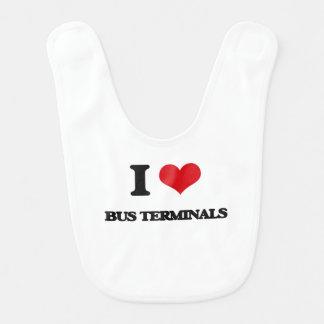 I Love Bus Terminals Baby Bibs