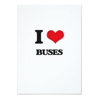 I Love Buses 5x7 Paper Invitation Card