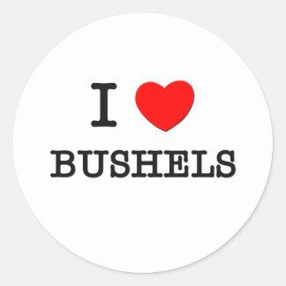 I Love Bushels Round Stickers