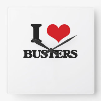 I Love Busters Square Wall Clock