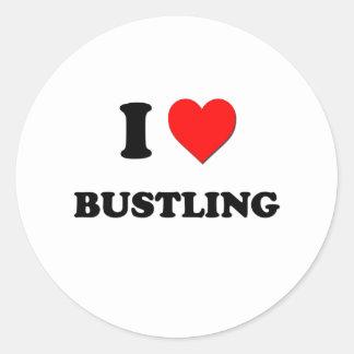 I Love Bustling Round Stickers