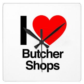 i love butcher shops square wallclocks