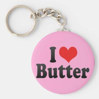I Love Butter Basic Round Button Keychain